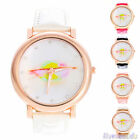 New Fashion Rose Gold Case Ladies Girl Sexy Lip Faux Leather Analog Wrist Watch