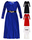 Girls Long Sleeved Lace & Pleated Maxi Dress New Kids Party Eid Dresses 3-12 Yrs