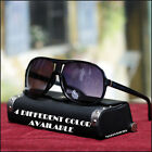MENS 80'S NEW AVIATOR SUNGLASSES SPORT DRIVING BIKER TRAVEL BLACK LENS SHADES
