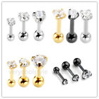 16G Round Mix 3/4/5mm CZ Steel Barbell Ear Tragus Cartilage Helix Studs Earrings