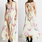 New Womens Floral Long Split Maxi Dress Party Dress Boho Dresses Backless Robes