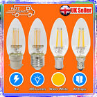 4W LED FILAMENT CANDLE BULBS WARM WHITE LAMP LIGHT BC SBC ES SES - NEW