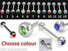 GEM TONGUE BAR 316L STEEL NIPPLE BARBELL 14G BODY JEWELLERY VARIOUS COLOURS