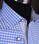 Blue Gingham Check Formal Business Dress Shirt Wind Shuriken Ninja Sexy Flower