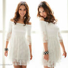 Western Womens Lovely White Off shoulder Lace 3/4 Sleeves Sexy Mini Dress 4738
