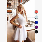 Womens Irregular Dresses Summer O-neck Sleeveless Fashion Skirt Dress Dress