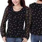 1PC Fashion Blusa Women O-Neck Women Chiffon Blouse Ladies Polka Dot Shirt