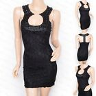 Sexy Black Beaded Lace T-Back Party Evening Mini Dress