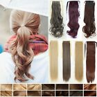 Tie Up Ponytail Clip in Hair Extensions Long Straight Curly blonde real hot MU76