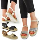 Womens Ladies Flat Low Heel Espadrilles Glitter Ankle Strap Sandals Chunky Size