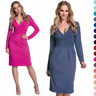 Glamour Empire Women's V Neck Midi Stretch Bodycon Dress W/ Long Sleeve 285
