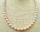 Natural 7-7.5mm 17inch AAA+ grade pink akoya pearl necklace 14Kt YG fine Gift