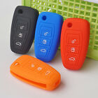 Silicone car key cover for 3 button ford flip folding remote protected