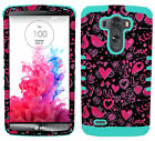I Love You Pink Hearts Birds Mint Blue Impact Dual Cover Case for LG Optimus G3