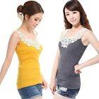 Sweet Women Lace Flower Crochet Ribbed Tank Top Sleeveless T-shirt Cami Vest
