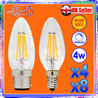 4X 6X 8X 10X DIMMABLE 4W LED FILAMENT CANDLE BULBS WARM WHITE LIGHT BC SES - NEW