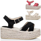 Womens Adjustable Buckle Wedge Heel Sandals Pumps Shoes Sz 5-10