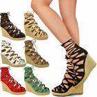 New Womens Ladies High Heel Wedge Platforms Gladiator Sandals Lace Up Shoes Size