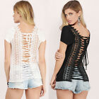 Floral Sexy T-shirt Lace Up Women Tops Lace Top Blouse Shirt Short Sleeve
