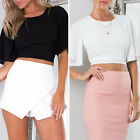 Sexy Women Short Sleeve Chiffon Backless Crop Tops Tank Clubwear Party Blouse
