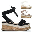 Womens Lace Up Wedge Heel Espadrille Gladiator Sandals Shoes Sz 3-8