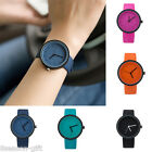 GIFT Fashion Men Women Simple PU Leather Jelly Color Quartz Student Wrist Watch