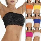 New Womens Ladies Floral French Lace Trim Stone Boob Tube Bandeau Crop Top Size