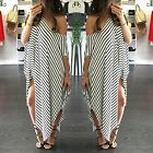 Plus Size Womens Stylish Striped Casual Maxi Dresses Loose Party Long Dress YEA4