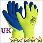 12 PAIRS HI VIZ LATEX RUBBER WORK GLOVES THERMAL WINTER NEW  GARDENING BUILDERS