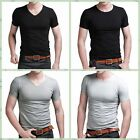 Fashion Men's Slim Fit V-neck/crew O neck T-shirt Short Sleeve Muscle Casual Tee