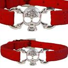 New Medium Red Suede Leather Bling Crystal Skull & Bones Collar for Cats