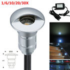 6/10/20/30X Cool White Semilune Outdoor Path Garden Plinth LED Deck Stair Lights