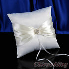 White Satin Wedding Ring Bearer Pillow Rhinestone Brooch With Ivory Bowknot