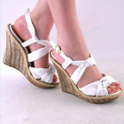 NEW WOMENS WHITE KNOTTED FABRIC HIGH HEEL PLATFORM WEDGE SANDAL