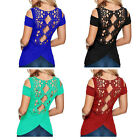Womens Sexy Cut out Shoulder-off Cotton Blouse Lace Tops T Shirt Casual Tee New