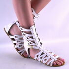 New Sexy Womens White Contemporary Midcalf Roman Gladiator Sandal