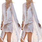 1 Pc Women Casual White Long Sleeved Lace Crochet Hollow-out Tassels Pull-over
