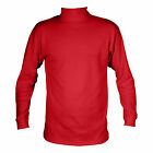 MANBI MENS 100% COTTON RED TURTLENECK ROLL NECK LONG SLEEVE POLO NECK TOP
