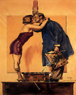 POSTER MODEL AND PAINTER KISSING PAINTING KISS LOVE ART VINTAGE REPRO FREE S/H