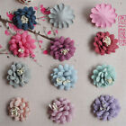 5 10 20PCS DIY handmade leather fabric flower hair accessories decoration