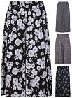 Womens Plus Size Floral Flower Printed Ladies Elasticated Waist Long Midi Skirt