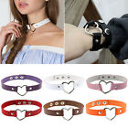 Women Fashion Leather Rivet Heart Ring Collar Punk Gothic Choker Charm Necklace