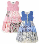 Girls Sleeveless Crochet Patchwork Sundress New Kids Blue Pink Party Dresses