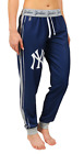 KLEW MLB Women's New York Yankees Cuffed Jogger Pants, Navy