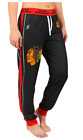 KLEW NHL Women's Chicago Blackhawks Cuffed Jogger Pants, Black