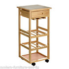 PINE WOOD KITCHEN AND DINING TROLLEY ISLAND WITH CERAMIC TILE TOP, WINE TROLLEY