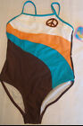 BREAKING WAVES Girls Size 14 Peace Choice One Pc Swimsuit NWT