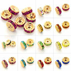 100pcs DIY Crystal Beads Straight Spacer Gold Plated Jewelry 5/6/8/10/12mm