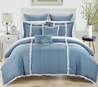 Legend Blue & White 11 Piece Quilted Embroidery Comforter Bed In A Bag Set