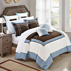 Ballroom Blue, Brown & White 11 Piece Comforter Bed In A Bag Set